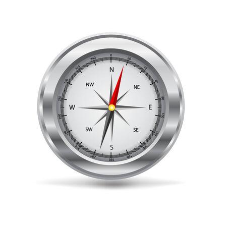 vector illustration of a silver compass Vettoriali