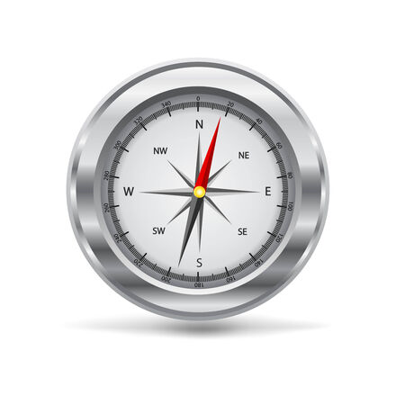 vector illustration of a silver compass Illustration