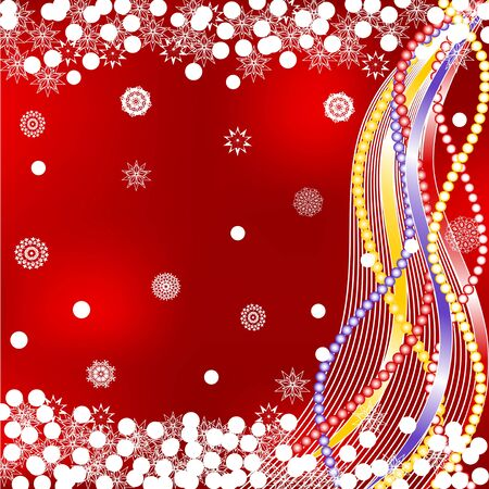 vector illustration of a beautiful Christmas background with the Christmas decorations, snowflakes, waves and ribbons Vector