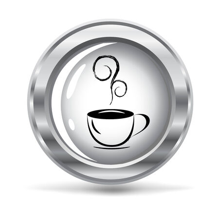 vector illustration of a metallic button with cup of coffee Illustration