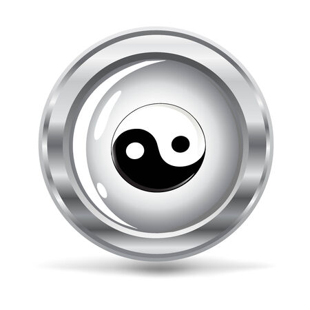 karma design:  vector illustration of a metallic button with a Yin and Yang symbol