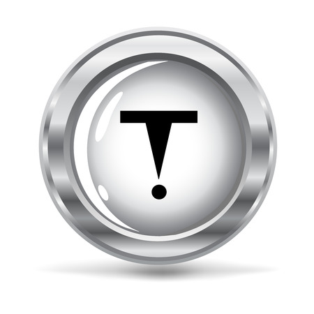 hazard sign:   vector illustration of a metallic button with a hazard sign