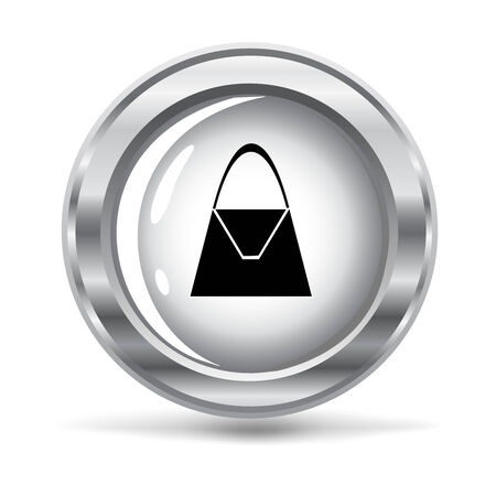 vector illustration of a metallic icon with a purse