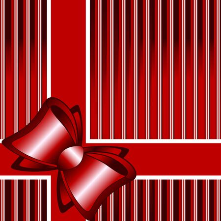 vector illustration of a striped red background with a bow