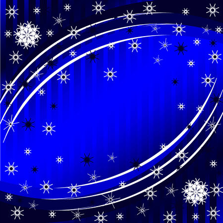vector illustration of a blue striped Christmas Background with the snowflakes 向量圖像