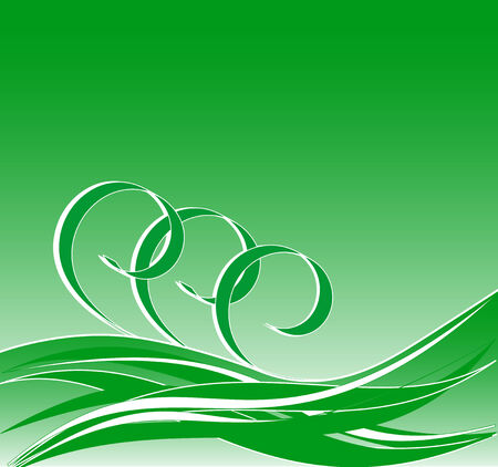 vector illustration of abstract green background with the waves Çizim