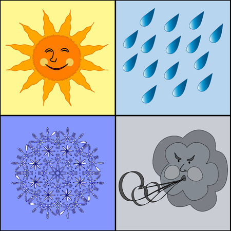 vector illustration of the weather icons. Four weather conditions icon: sunny rainy windy wintry Stock Vector - 6122490
