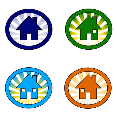 vector illustration of the set of four house icon variations Stock Vector - 6174421