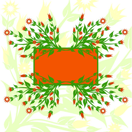 vector illustration of floral background with the frame Stock Vector - 6174436