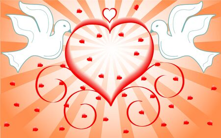 wedding reception decoration:  vector illustration of a white doves holding red heart.