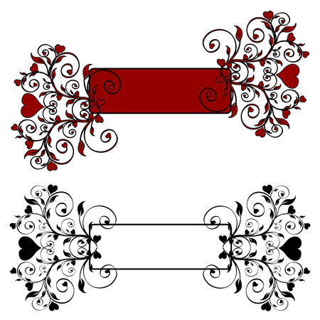 illustration of a floral banner with hearts