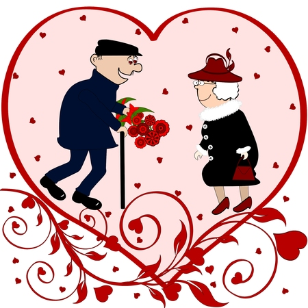 Elderly man giving elderly woman a bouquet of beautiful red flowers Vectores