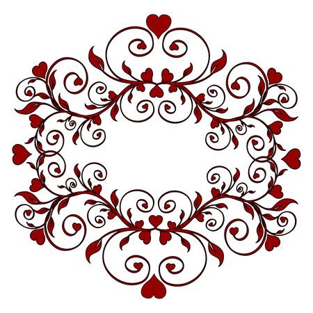 心を持つ赤い花飾りのイラスト
