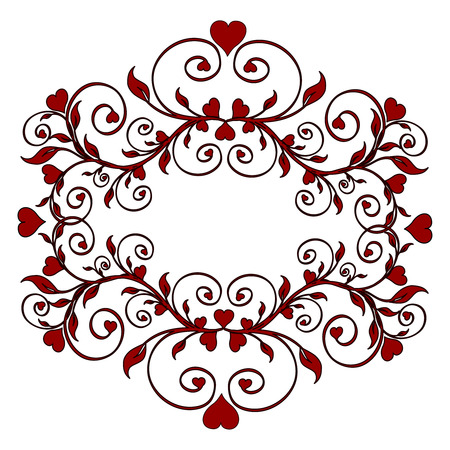 baroque border: illustration of a red floral ornament with hearts