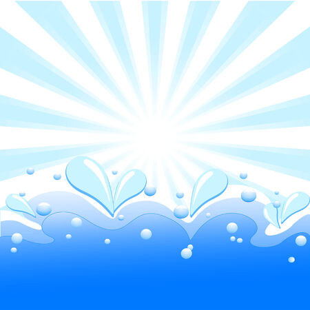 illustration of summer background with sun rays, waves and water drops.