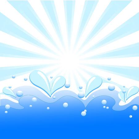 夏天背景的例证与太阳光芒,波浪和水下落的。