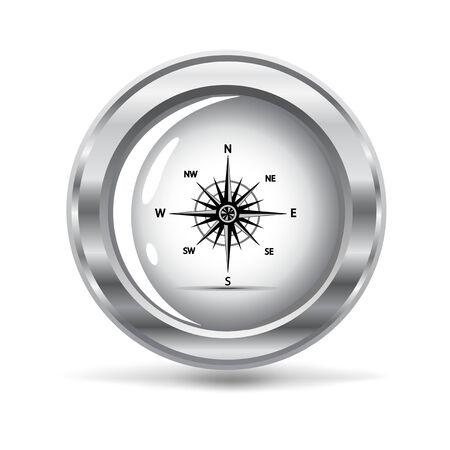 afbeelding van een silver metallic pictogram met een wind roos Stock Illustratie