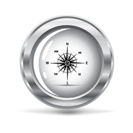 compass rose: illustration of a silver metallic icon with a wind rose