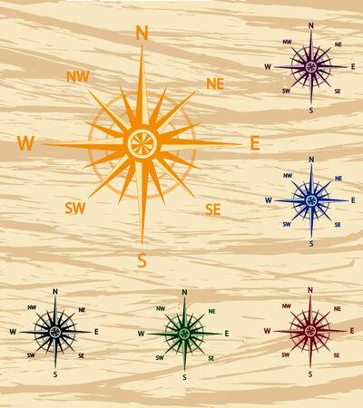 Vector illustratie van een set van een oude stijl wind roos Stock Illustratie