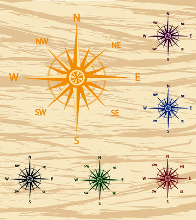 Vector illustration of a set of a old style wind rose