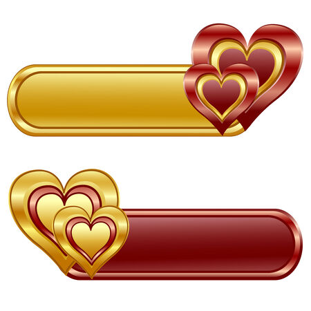 oblong: illustration of the Valentine glossy banners with Hearts. Illustration