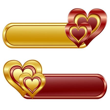Illustrazione dei banner Valentine lucida con cuori.  Archivio Fotografico - 6395631