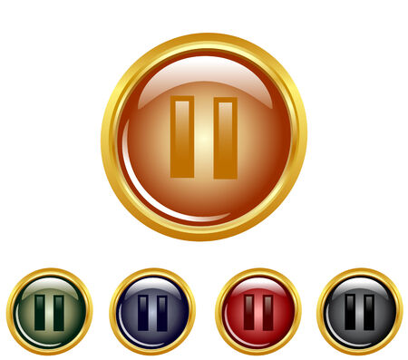 illustration of a set of a pause buttons. Vector