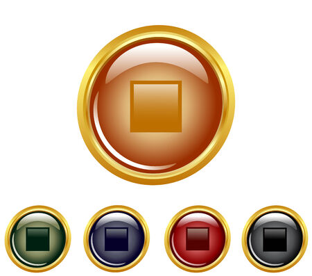 illustration of a set of a stop buttons. Vector