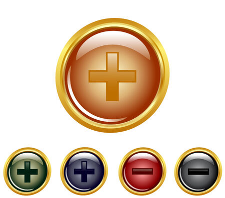 illustration of a set of a plus minus buttons. Vector