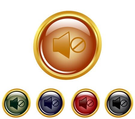 multimedia icons: illustration of a set of a mute buttons.
