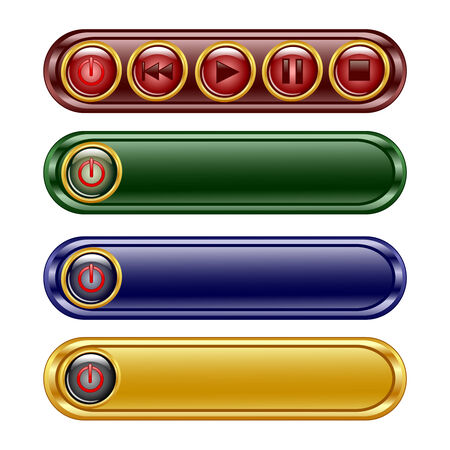 oblong: illustration of the four oblong shiny panel with  player set sign icon buttons