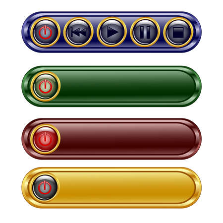pause button: illustration of the four oblong shiny panel with  player set sign icon buttons