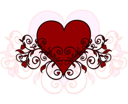 swirl: illustration of a red heart with ornament