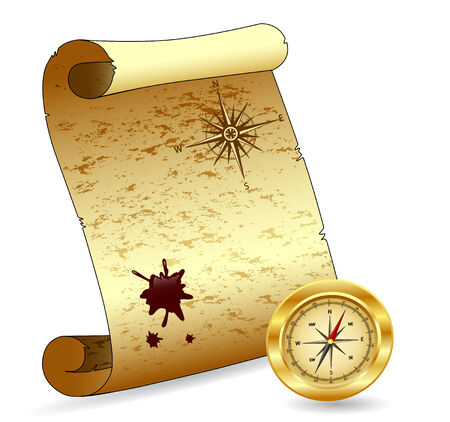 Vector illustration of an old scroll paper with a compass, wind-rose, blot Vector