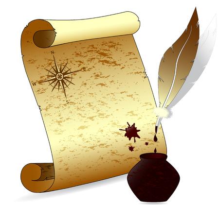 Illustration vectorielle d'un vieux papier parchemin avec un stylo plume, rose des vents, encre-pot Banque d'images - 6450360