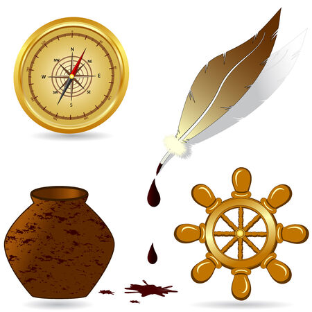 vector illustration of a set of nautical icons Vector