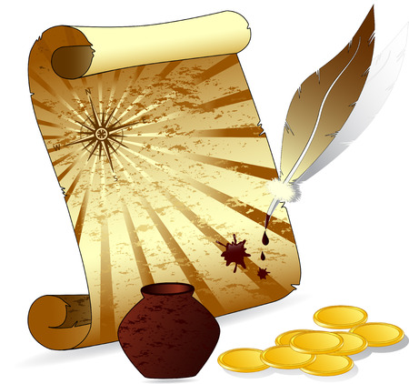Vector illustration of an old scroll paper with a feather pen, wind-rose, inkwell, money Vettoriali