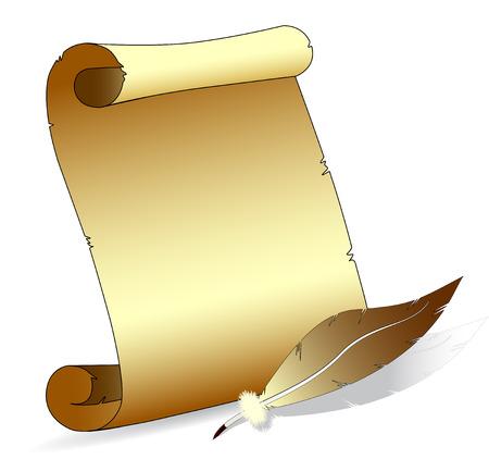 Vektor-Illustration einer alten Scroll-Papier mit einem Feather-Stift auf Withe Hintergrund isoliert Standard-Bild - 6589785