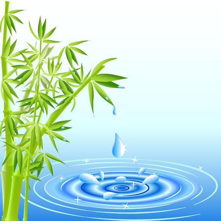 reflectie water: vector afbeelding van een water druppels vallen uit de bamboe bladeren Stock Illustratie