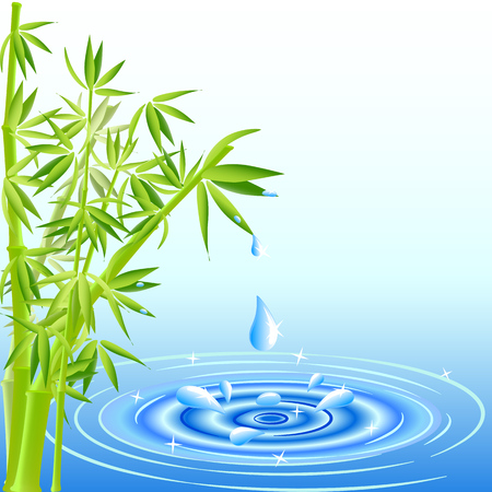 vector illustration of a water drops falling from the bamboo leaves 向量圖像
