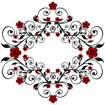 Vector illustratie van een rode bloem ornament Stock Illustratie