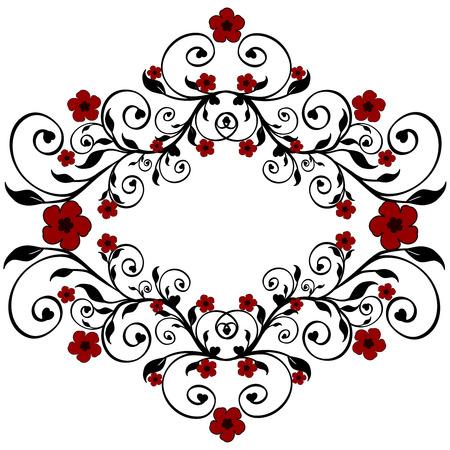 baroque border:  Vector illustration of a red floral ornament Illustration