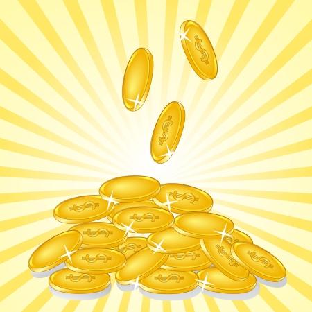 日当たりの良い背景に黄金のコインのイラスト