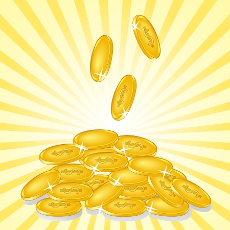 falling money: illustration of a golden coins on sunny background