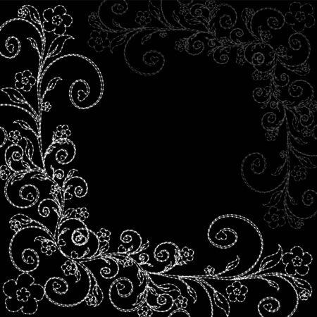 검은 배경에 꽃 장식의 그림