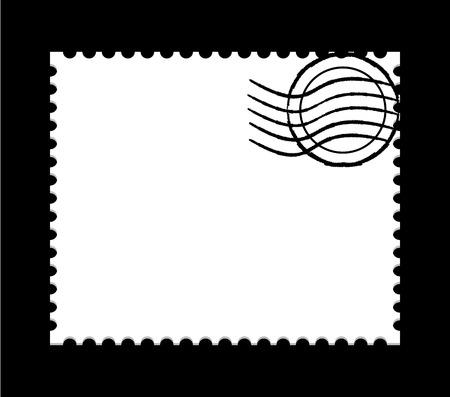 illustration of a  blank white post stamp on black background
