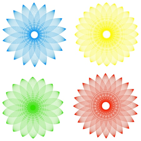 illustration of the four abstract flowers