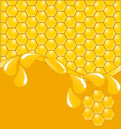 illustratie van een achtergrond honing raat met druppels