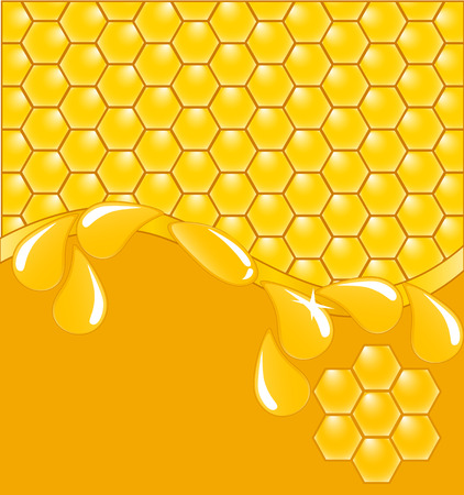 comb: illustration of a honeycomb background with drops