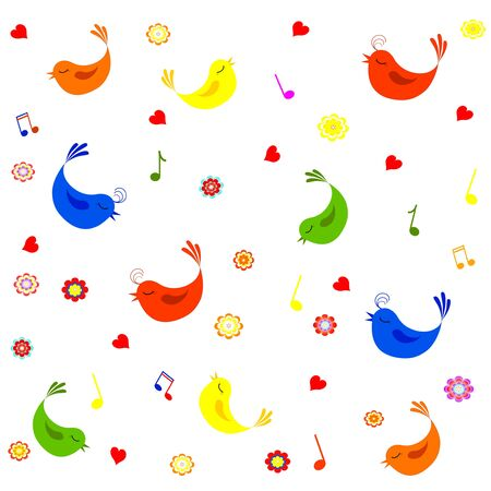 illustration of a pattern with cute flowers, notes, hearts and birds Vector
